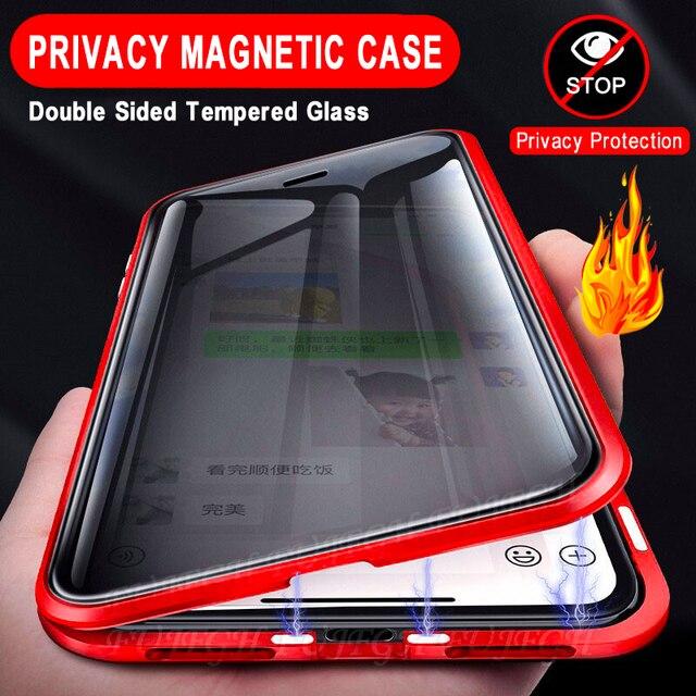 غلاف واقي مغناطيسي مضاد للخصوصية ، لهاتف Samsung Galaxy S21 S9 S8 Plus S20FE S10E Note 20 10 9 8 Ultra A51 A71 360
