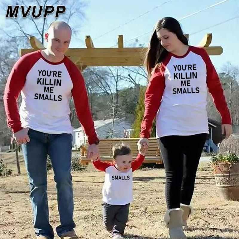Cool ครอบครัว T ฤดูใบไม้ร่วงเสื้อแขนยาว Patchwork พ่อแม่ลูกสาวเด็กชุด Daddy mommy Little GIRL เด็กทารก