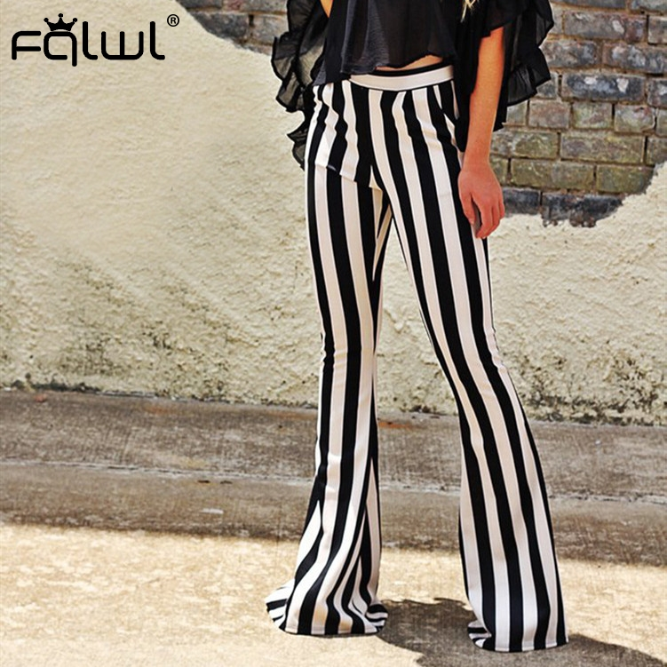 FQLWL Casual Zebra Print   Wide     Leg     Pants   Women Bell Bottom High Waist Skinny Flare   Pants   Female Autumn Streetwear Trousers Women