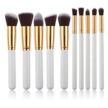 Sdsp 10 pçs kit de escova de maquiagem escovas kit de ferramentas de escova de maquiagem kit forro de olho macio natural-sintético kit de escovas de beleza de cabelo