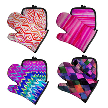 Microwave Glove Oven Mitt Kitchen Insulated-Mat BBQ Polyester for Geometric Abstraction