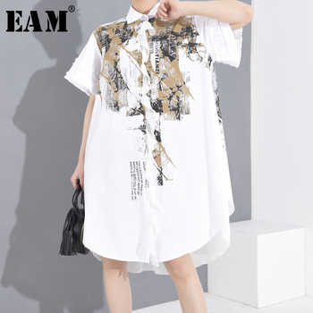 [EAM] Women White Printed Big Back Chiffon Size Shirt Dress New Lapel Shirt Sleeve Loose Fit Fashion Spring Summer 2020 1T94100