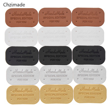 Lychee Life Handmade Round Clothes Garment Tag PU Leather Labels For Jeans Bags Shoes Diy Sewing Materials