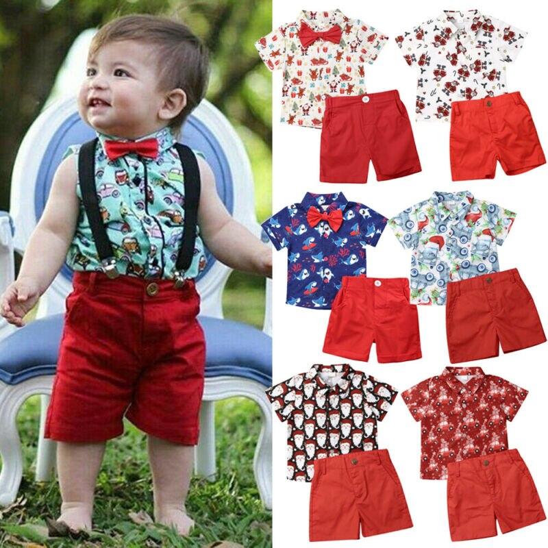 Christmas Toddler Kids Baby Boy Clothes Xmas Santa Tops T-Shirt Shorts Outfit