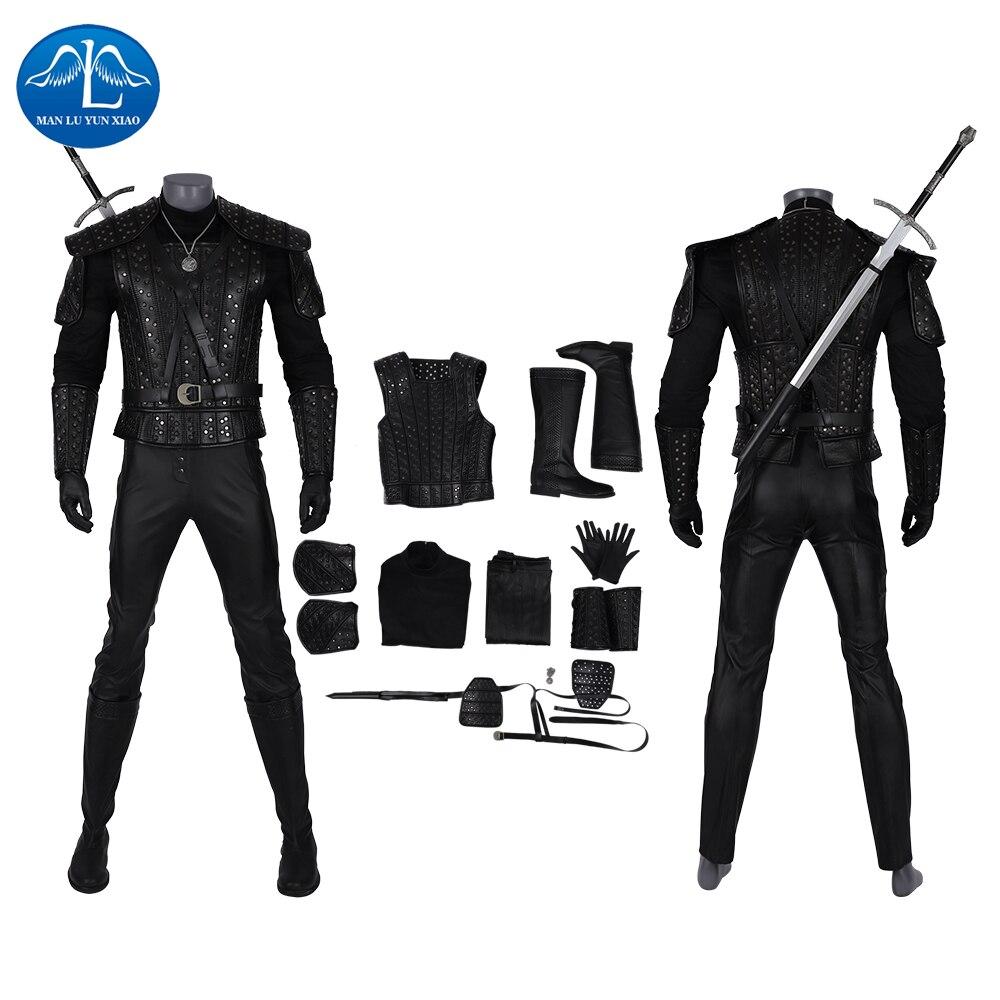 The Witcher 3 Cosplay Geralt de Rivia Costume Halloween Costumes pour hommes adultes vestes Costume Faux cuir