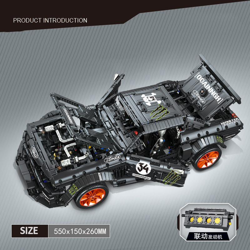 RC Ford Mustang Bricks 2019 Hoonicorn RTR V2 Technic Super Racing Car With Motor Building Blocks with LED light kids toys gifts