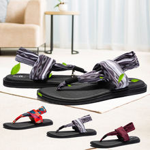 цена на Brand Summer Sandals Women Yoga Sling Retro Shoes Female Elastic Straps Design Flip Flops Women Flats Beach Shoes Big Size 36-44