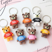 2019 Cartoon Cute Candy Color little Bear Key chain Women Bag car Accessories Keychain childrens Resin Toys Gift Ring