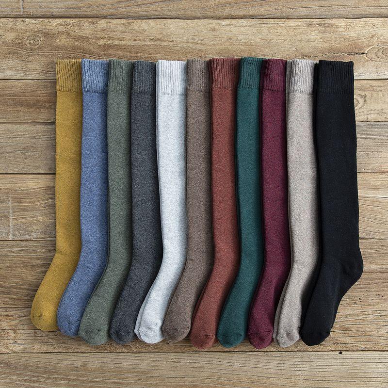 Зимние длинные толстые высокие носки-трубы носки до колен хлопковые плюс бархатные термальные носки махровые однотонные женские носки до и...