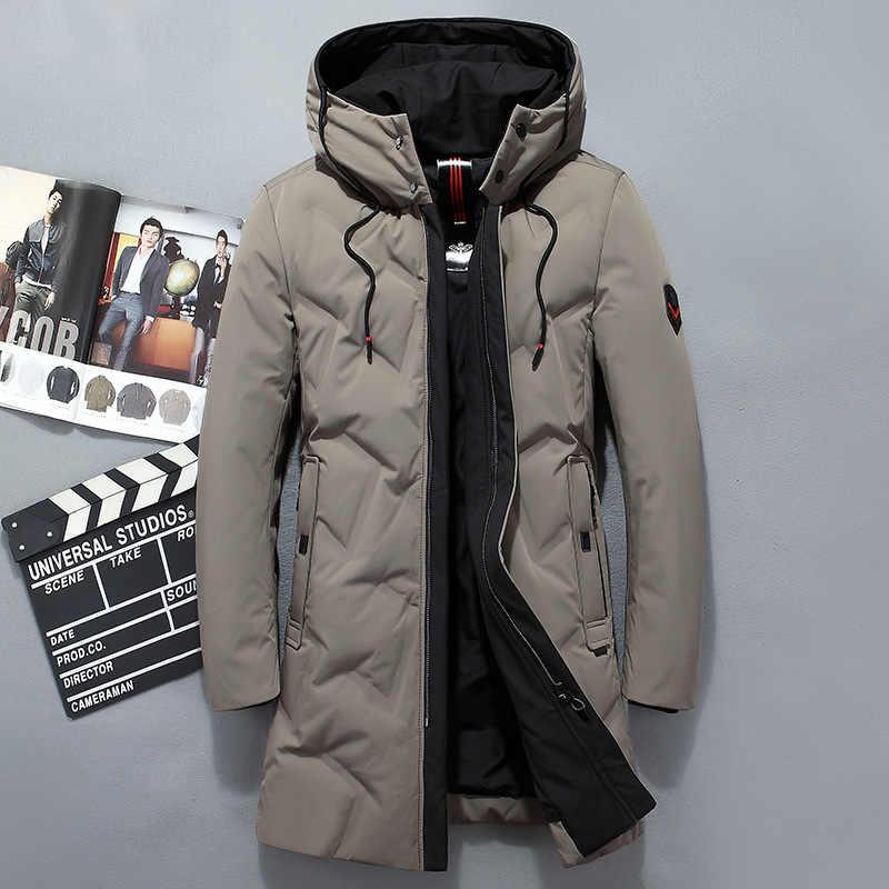 2019 Зимний новый стиль мужской пуховик пальто Бизнес Повседневный корейский стиль Harajuku белый утиный пух теплая верхняя 9596