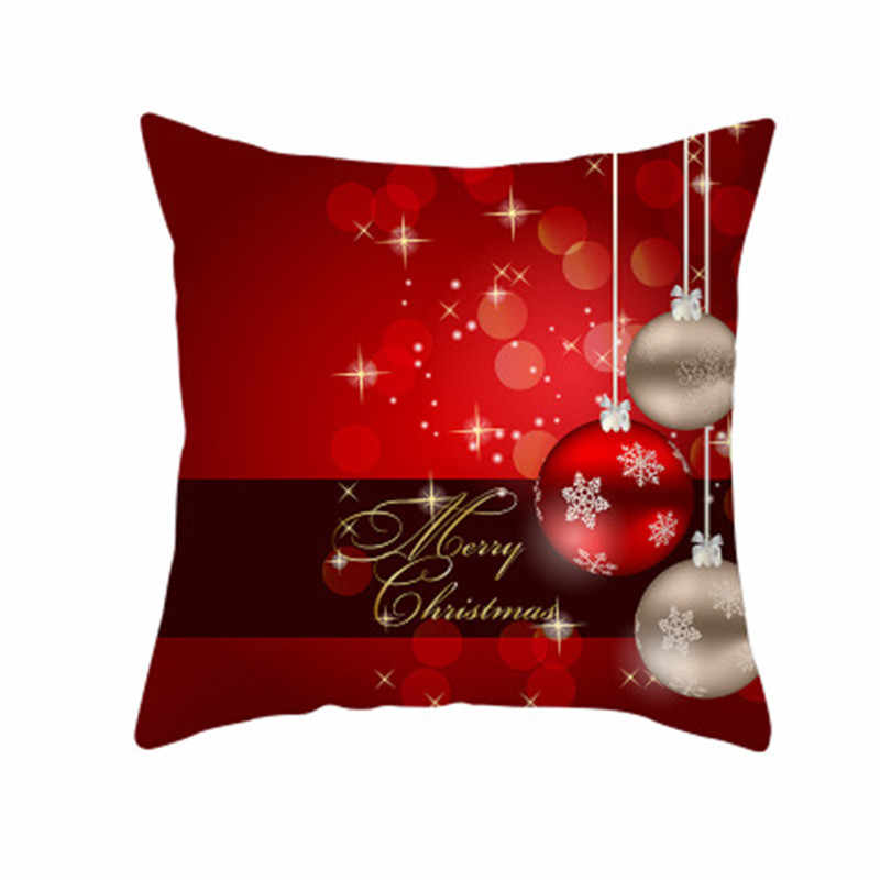 Merry Christmas printed Polyester Sofa Decorative Cushion Cover Pillowcase for Home 2020 Xmas Ornaments Gifts 5Z