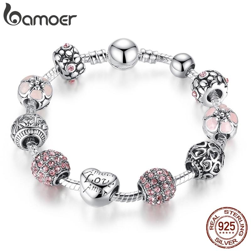 BAMOER Antique Silver Strand Bangle & Bracelet with Love Charm and Flower Crystal Ball for Women Wedding PA1455 pandora starshine ring