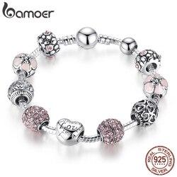 Bamoer antigo prata charme pulseira & pulseira com amor e contas de flores jóias de casamento feminino 4 cores 18 cm 20 cm 21 cm pa1455
