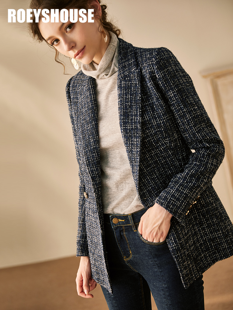 2020 new winter thick tweed small fragrance suit autumn and winter new temperament OL slim lace woolen coat