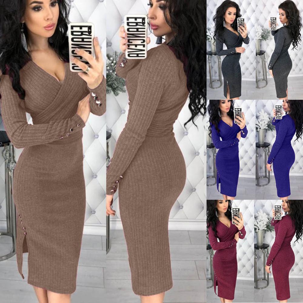 2019 Women Autumn Knitted Bodycon Dress Sexy Deep V-neck Button Long Sleeve Knitwear Elegant Casual Knee-Length Dresses