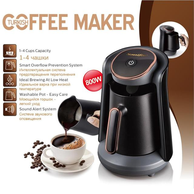 800W Automatic Turkish Coffee Maker Machine Cordless Electric Coffee Pot Food Grade Moka Coffee Kettle for Gift 220V Sonifer 3
