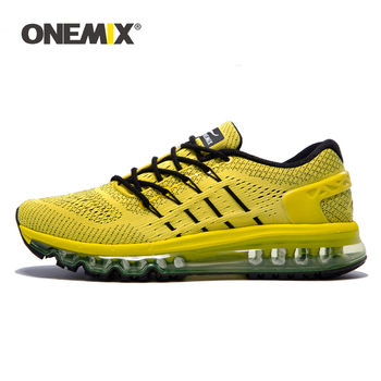 ONEMIX Men Yellow Sport Running Shoes Breathable Road Walking Shoes Outdoor Male Athletic Sport Walking Air Cushion Sneakers running shoes men luxury sneakers breathable shoes outdoor male cushioning walking shoes black sport shoes athletic trainer