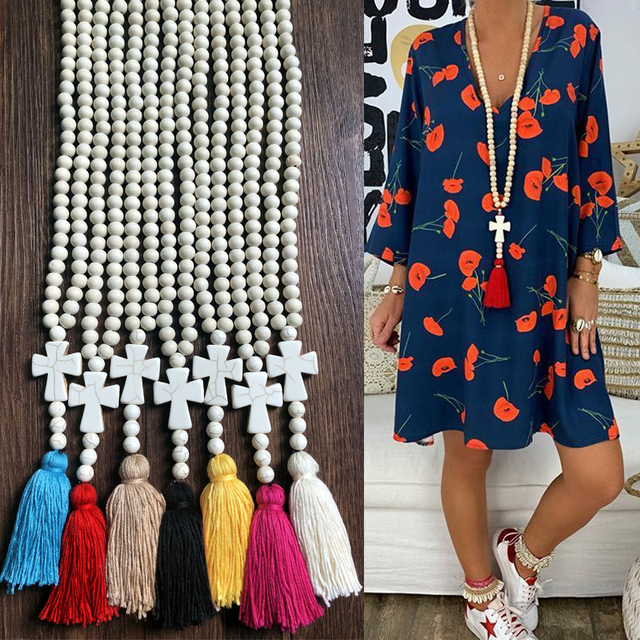 Yumfeel New Bohemian Necklace Handmade Stones Tassels Wood Beads Necklace Long Women Jewelry Gifts 4