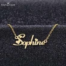 Персонализированные на заказ имя письмо ожерелья для женщин мужчин роза золото серебро цвет нержавеющая сталь цепочка табличка кулон ожерелье