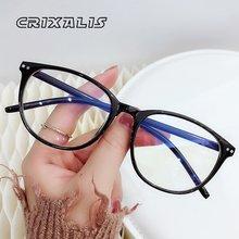 CRIXALIS Vintage mujeres miopía gafas con dioptrías menos de-0,5 a-6,00 azul Oval de bloqueo de luz computadora gafas hombres UV400