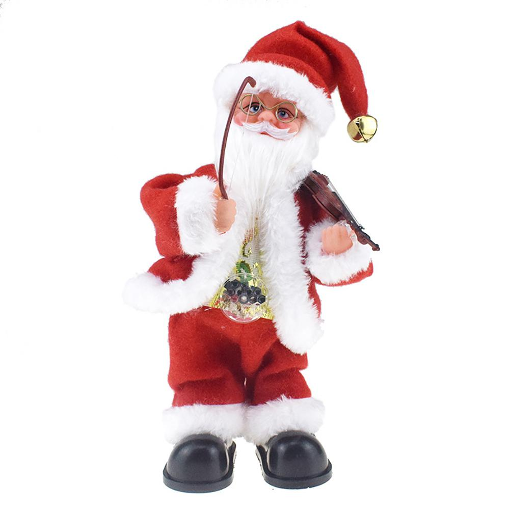 Belly With Lamp Playing The Violin And Rocking Santa Claus Doll With Music Electric Toys Gift