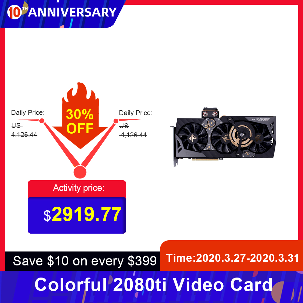 Colorful iGame GeForce <font><b>RTX</b></font> <font><b>2080</b></font> <font><b>Ti</b></font> Kudan Video Card GDDR6 <font><b>11GB</b></font> Graphic Card 1818MHz One-key Overclock Gaming GPU Graphic Card image