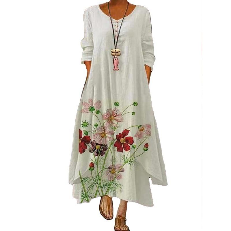 2021 Elegant Flowers Print Long Sleeve Spring Summer Dresses Casual O Neck Loose Women Dress Vintage Party Vestidos Long Dresses 9