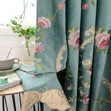 Высокий shading цветы вышивка шторы для гостиной столовая спальня бархат занавес