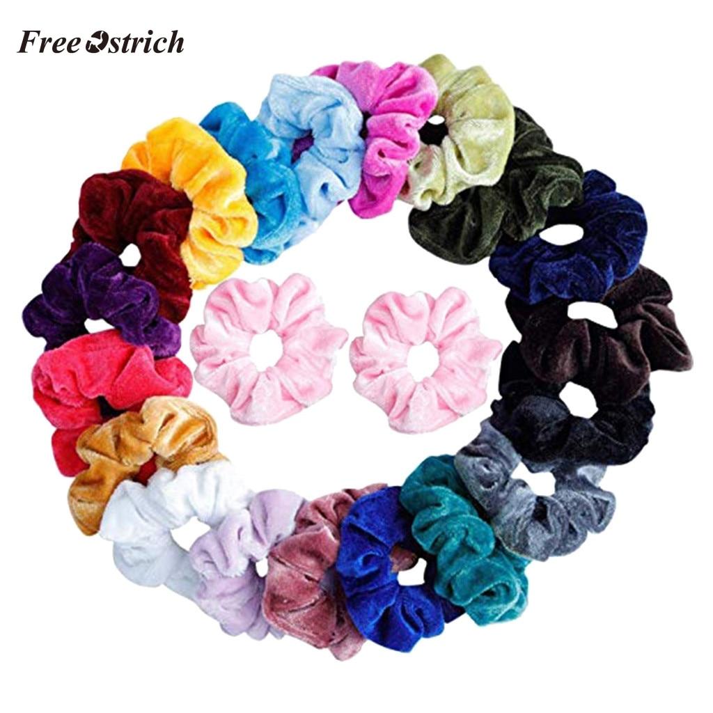 Free Ostrich 21PCS Hair Scrunchies Accessories Velvet Elastic Hair Bands Scrunchy Hair Ties Ropes Scrunchie For Women Girls Gift