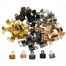 200pcs/lot Cord End Tip Fold Over Clasp Crimp Beads, Ribbon leather Clip Foldover for Necklace Connectors DIY Jewelry Making 200pcs lot cord end tip fold crimp beads cove clasps cord end caps string ribbon leather clip foldover for necklace connectors