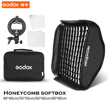 Godox 40*40cm/50*50cm/60*60cm/80*80cm Flash Softbox Kit with S-Type Bracket Bowen Mount Holder+Grid For Camera Photo Studio Lamp