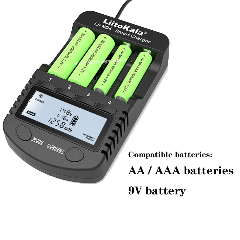 LiitoKala Lii-ND4 NiMH / Cd charger aa aaa charger LCD display and test battery capacity For 1.2 V aa aaa and 9V batteries.