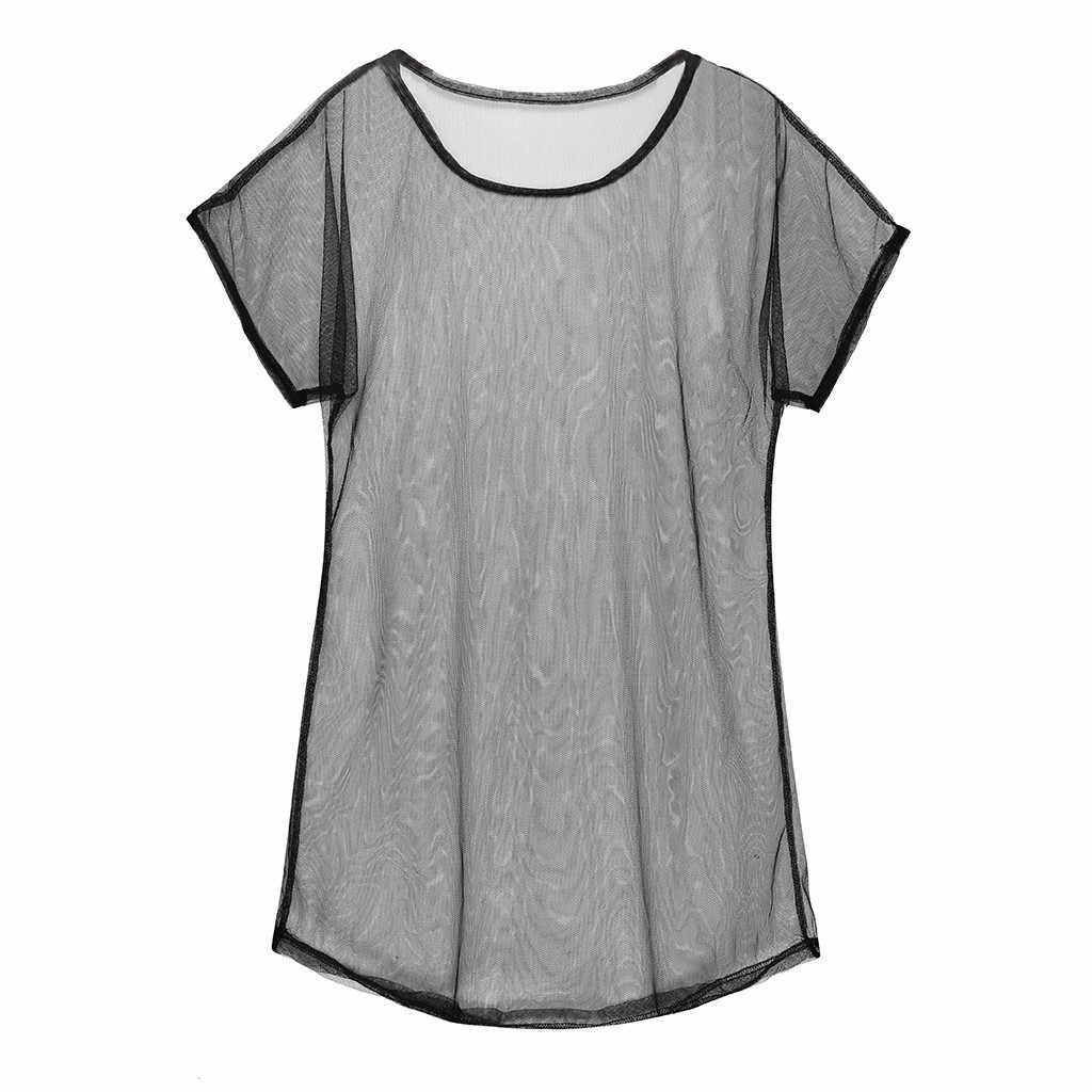 Plus Größe Strand Mini Kleid Frauen Strand Cover Up Tunika Pareo Weiß O Neck Kleid Badeanzug Mesh Strand Kleid Anzug