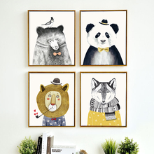Cute panda Nordic Style Kids Decoration, Poster Nursery Wall Art Canvas Painting Posters And Prints,no frame