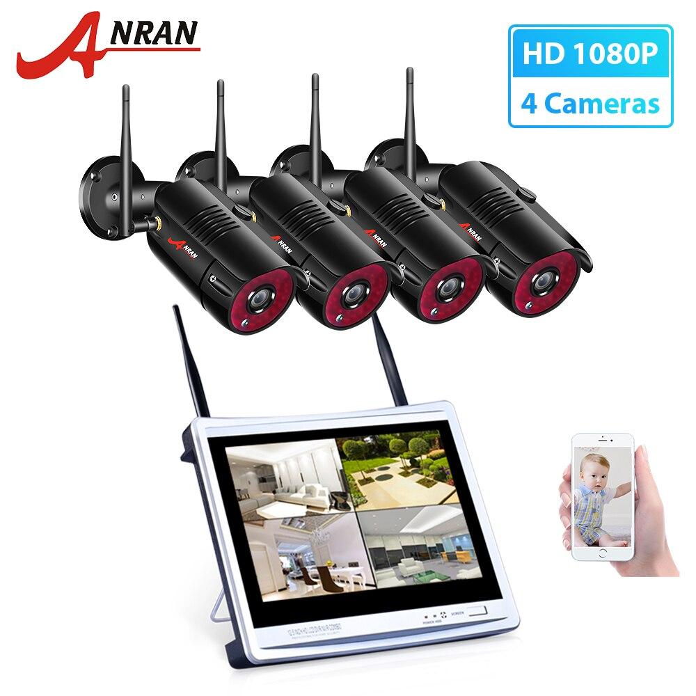 ANRAN 1080P HD Kit NVR inalámbrico P2P 1080P Interior Exterior IR visión nocturna seguridad 2.0MP IP Cámara WIFI CCTV sistema impermeable Sistema de alarma de casa, intercomunicador con alarma Wifi GSM, Control remoto, Autodial, detectores de 433MHz, IOS, Android, Tuya, teclado táctil con Control de aplicación