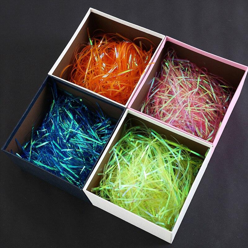 100g Красочные измельченные гофрированная бумажная рафия конфеты Коробки DIY Подарочная коробка для наполнения Материал Пластик праздничная ...