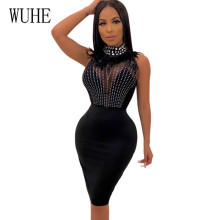 WUHE New Crystal Diamond Patchwork Mesh Sexy Bodycon Dress Sleeveless Stand Neck Hollow Out Slim Short Summer Club Dresses