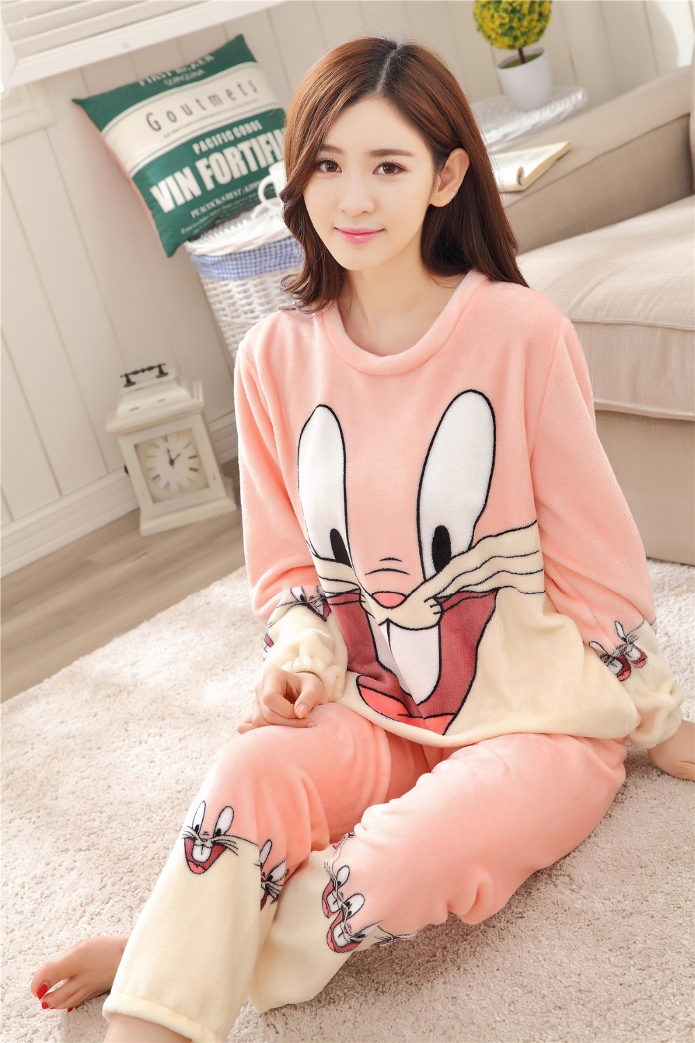 Women Pajamas Set For Autumn cute cartoon pink Women Clothes Sleepwear Nightgown For Women Long Sleeve And Pants Hot Sale pijama 64