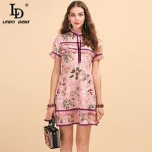 LD LINDA DELLA Fashion Runway Summer Dress Women's Short Sleeve Bowknot Floral Print Ruffled Elegant Vintage A-Line Mini Dresses цены