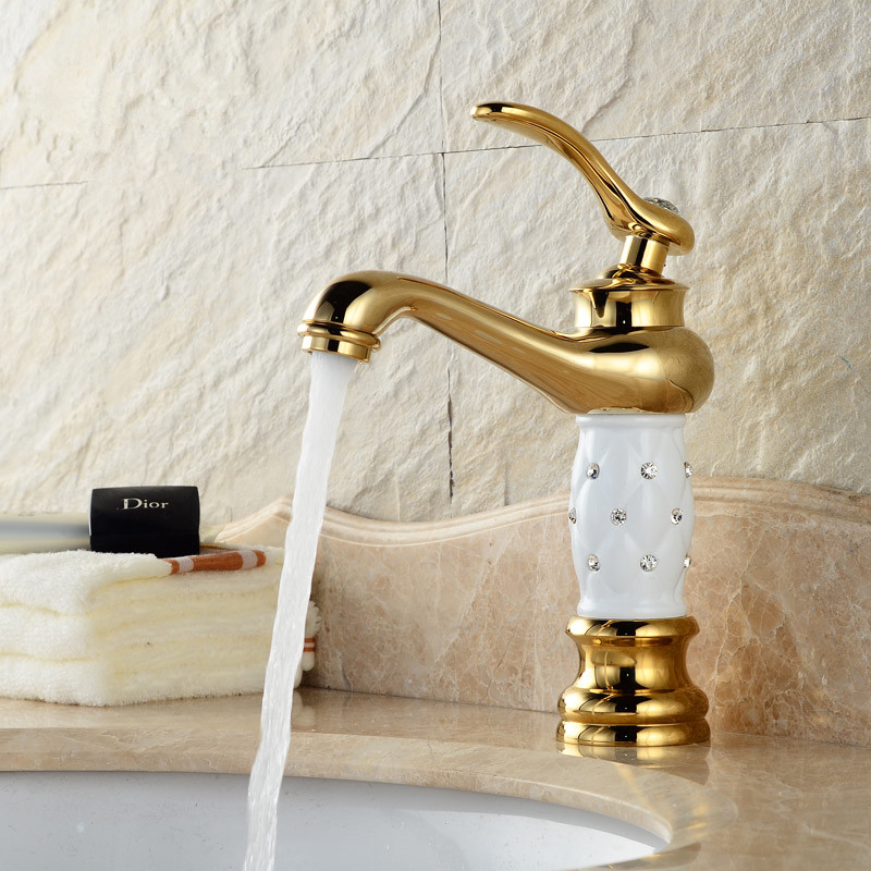 Bathroom basin gold faucet Brass with Diamond Crystal body New Luxury Single Handle hot and cold Water tap
