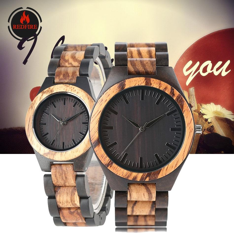 REDFIRE Ebony Wood Watches Men Women Quartz Wooden Bangle Couple Wristwatch Lovers Watch Gifts Folding Clasp Relojes De Pareja