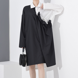 [EAM] Women Black Drawstring Pleated Big Size Shirt Dress New Lapel Long Sleeve Loose Fit Fashion Spring Summer 2020 1A18801