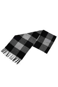 Chic Black & Gray Checked Pattern Fringe Decorated Men's Scarf