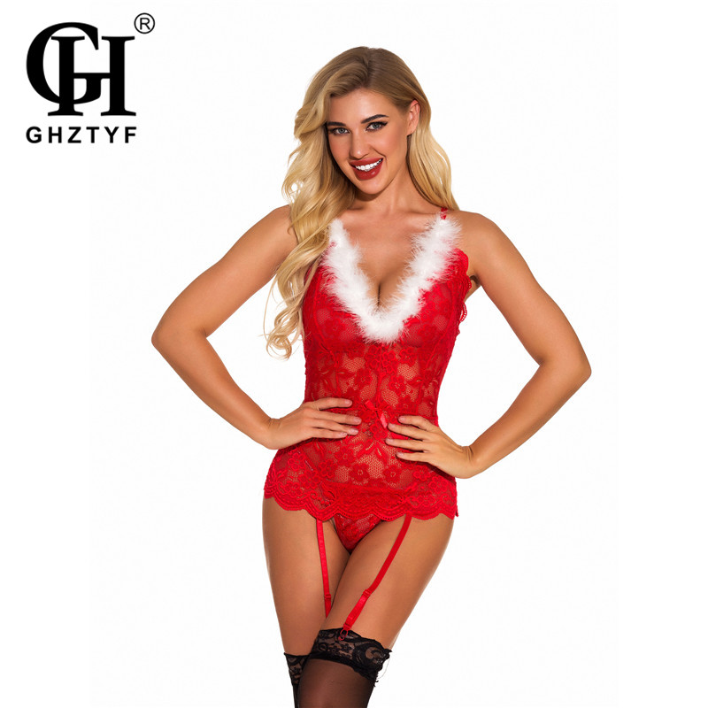 Christmas Costume Sexy New Year's Roleplay Bodystoking Lingerie for Women Exotic Santa Cosplay Lace Bodysuit Stockings Suit Sets