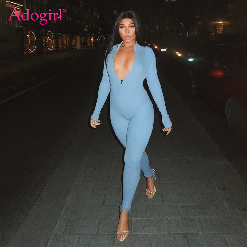 Adogirl Women Fashion Casual Solid Ribbed Jumpsuit Front Zipper Turtleneck Long Sleeve Skinny Romper Slim Fitness Tracksuit