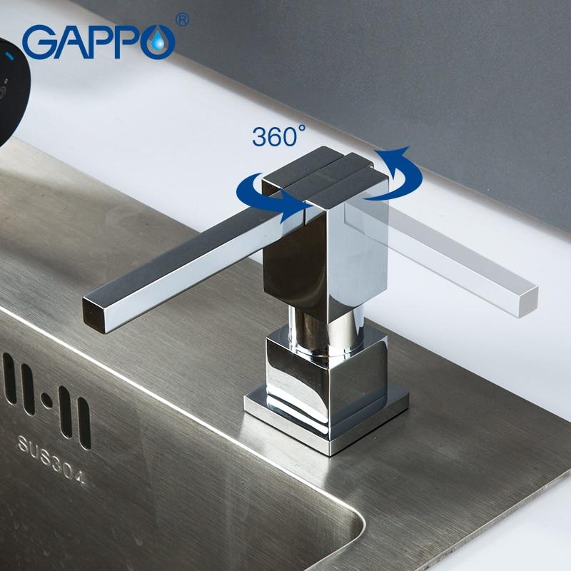 GAPPO Brass ABS Kitchen Soap Dispenser 300ML Deck Mounted Hand Soap Dispenser Liquid Soap Bottle Kitchen Accessories