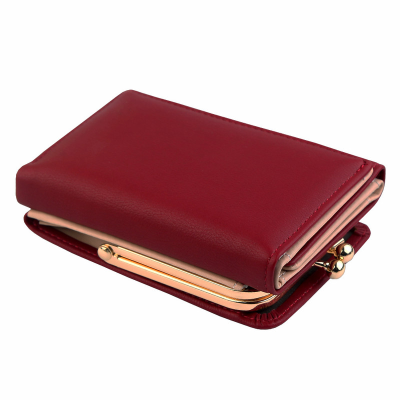 Wallet Women 2019 Lady Short Women Wallets Black Red Color Mini Money Purses Small Fold PU Leather Female Coin Purse Card Holder