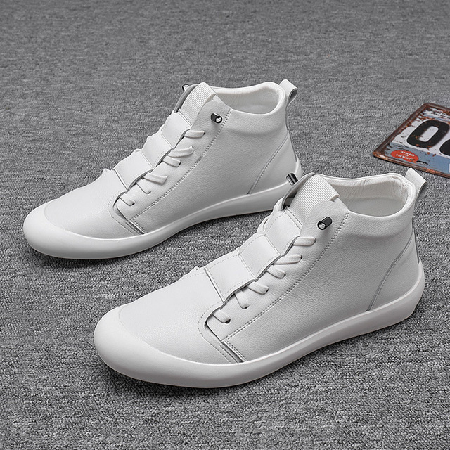 100% Genuine Leather Shoes Men High top