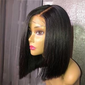 Pelucas frontal de encaje negro de 12 pulgadas, pelucas rectas de pelo de Bob para mujeres, pelucas de Cosplay, pelo sintético resistente al calor, tamaño medio
