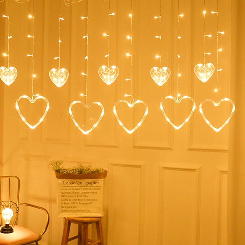 Romantic Fairy String Light Heart Shape 8 Modes 2.5M Wedding Neon Lantern Curtain Lamp Super Bright Lamp String Festival Lights